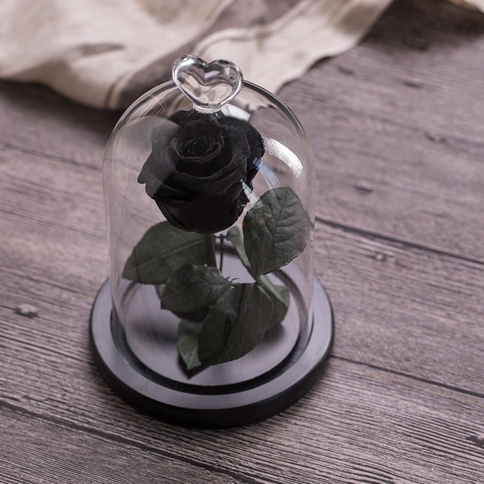 Вечный цветок розы с любовью стекло черный чехол искусственный цветок подарок на год Валентина Рождество Gif хорошее украшение дома - Цвет: Black