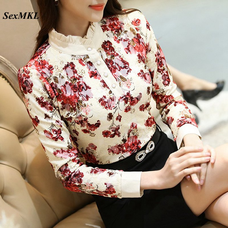 SEXMKL Ladies Print Lace Tops 2019 Fashion Korean Autumn Winter Long Sleeve   Blouse   Bluas Femininas Office Women   Blouses     Shirts