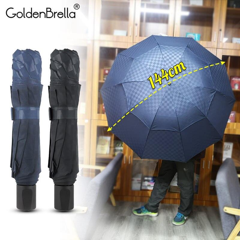 Top Quality 120cm Double Layer Dark Grid Umbrella Rain Women Men 4Folding 10Ribs Windproof Business Family Umbrella Sun Parasol window valance