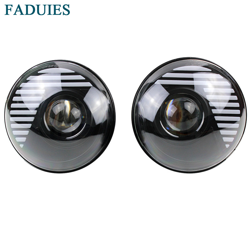 FADUIES 7 LED H4 Halo Headlights With H4 high Low Beam For Land Rover 7Inch LED Headlamps with Amber Turn Signal For Jeep JK faduies 7 inch round high low beam with