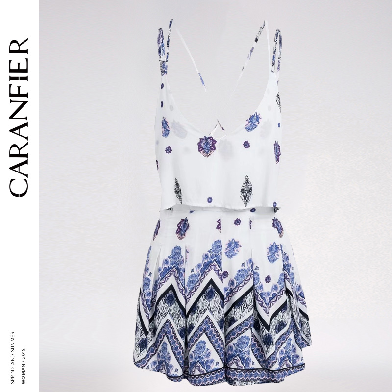 CARANFIER Bohemian Sexy Summer Jumpsuits For Women 2018 V Neck Sling Pleated Shorts Backless Playsuits Beach Body Feminino