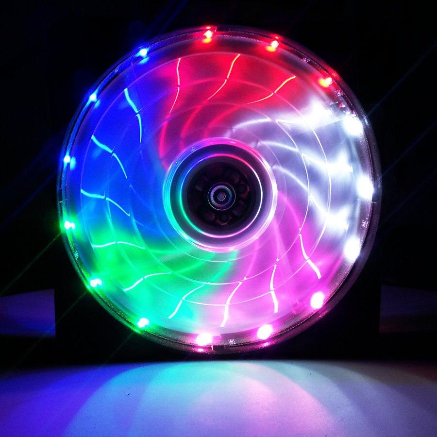 120 мм ПК компьютер 16 дБ Ультра тихий 15 светодиодов чехол вентилятор Радиатор охлаждения ж/Антивибрационная резина, 12 см вентилятор, 12В DC 3P IDE 4pin - Цвет лезвия: 1 pcs Multicolor fan