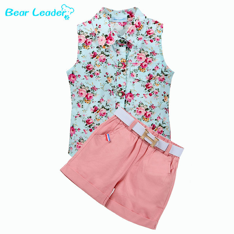 все цены на Bear Leader Kids Clothes 2017 Fashion Sleeveless Summer Style Baby  Girls Shirt +Shorts + Belt 3pcs Suit Children Clothing Sets онлайн