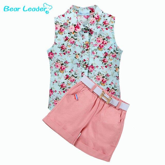 Bear leader детская одежда 2017 мода лето без рукавов стиль девочки рубашка + шорты + ремень 3 шт. костюм детская одежда наборы