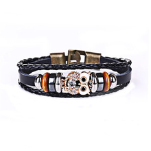 Dropshipping 2018 New Crytal Owl Charm Genuine Leather Charm Bracelets Men Jewelry Party Gift XY17013