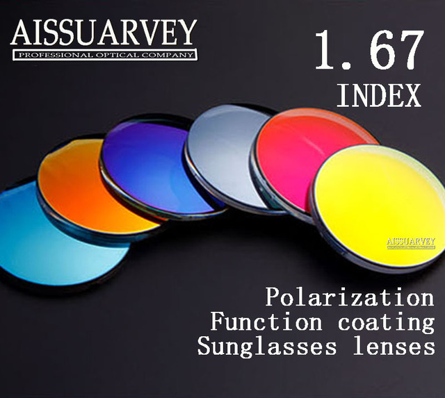 Sunglasses lenses 1.67 colored lenses reflection polarized prescription HD blue silver driving outdoor lenses thin polarization