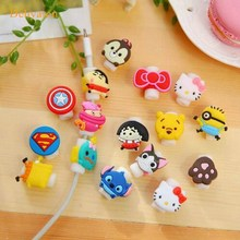 Good Gifts Lovely Cartoon USB Cable Protector de auriculares con Cable pegatinas espiral Cable protector para iphone 5 6 6s 7(China)