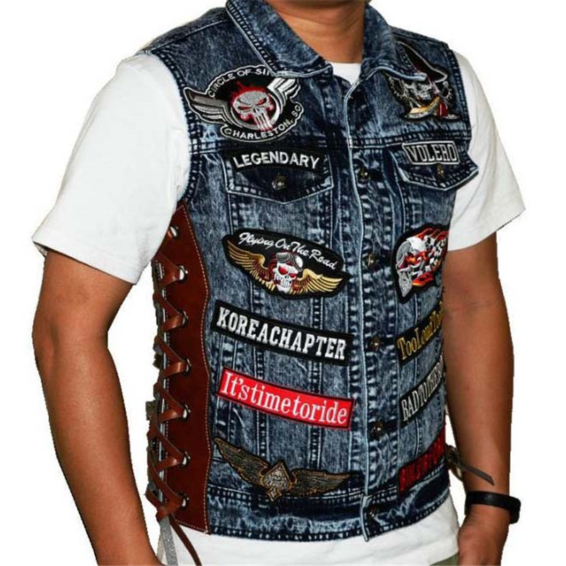 Icon Moto Adjustable Size Sun Riding Leisure Cool knight Leather Jean jacket Jersey For Motorcycles Riding Western Cowboy Style