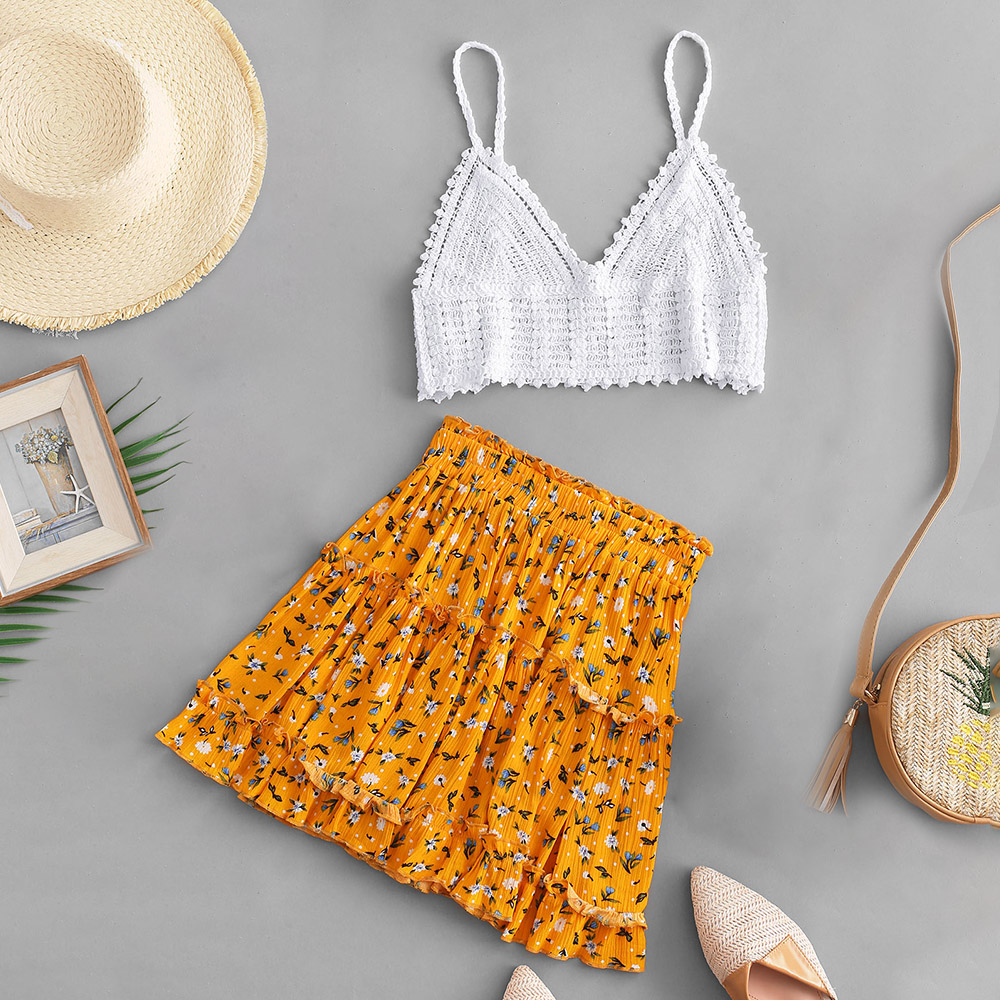 ZAFUL Two Piece Set Cami <font><b>Crochet</b></font> <font><b>Top</b></font> And Floral Skirt Set <font><b>Sexy</b></font> Spaghetti Strap Lace <font><b>Crop</b></font> <font><b>Top</b></font> High Waist Skirt Women Bohemia Suit image