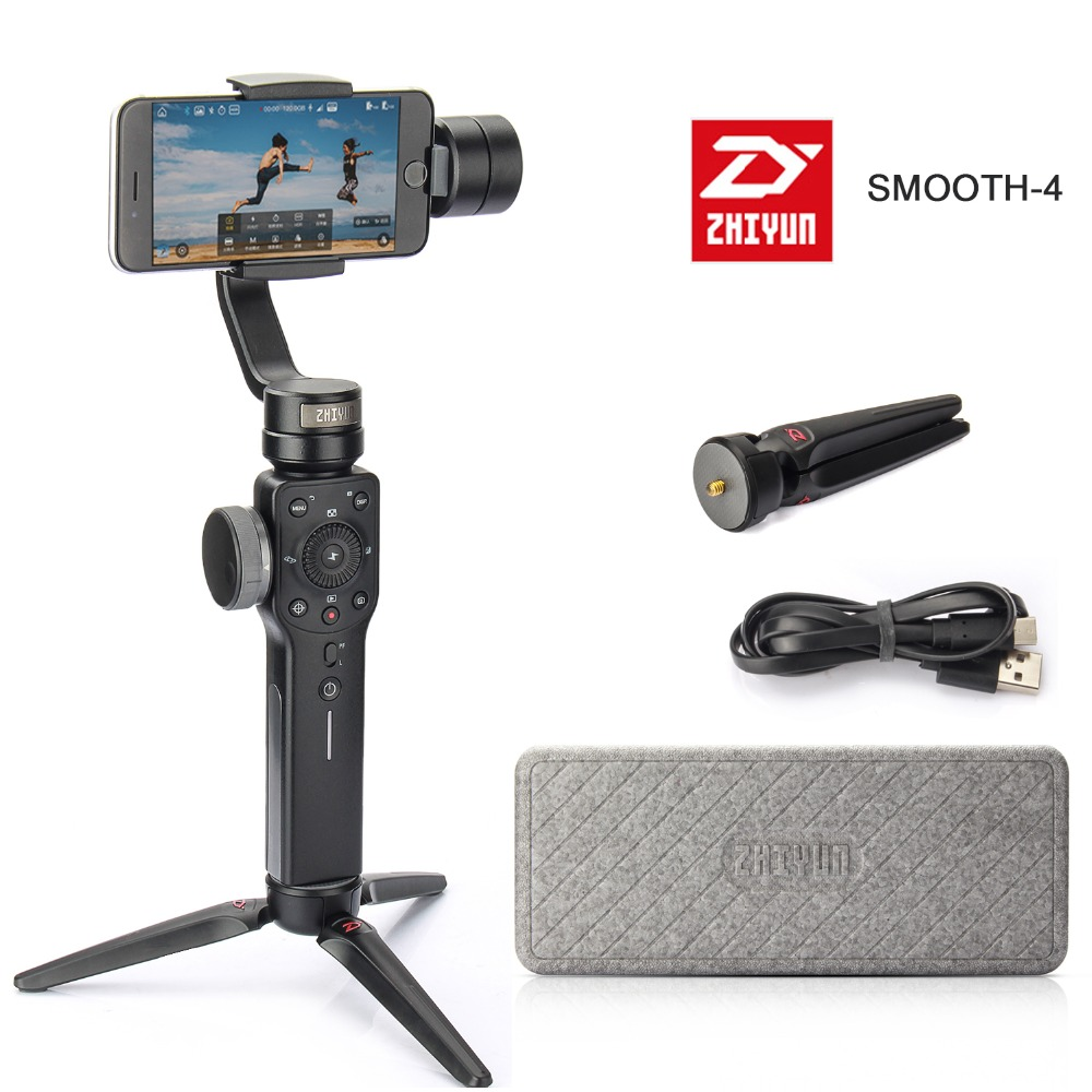 Фото Zhiyun Smooth 4 3-Axis Handheld Gimbal Stabilizer for iPhone X 8 7 Plus 6 Plus for Samsung Galaxy S8+ S8 S7 S6 S5 Smartphone