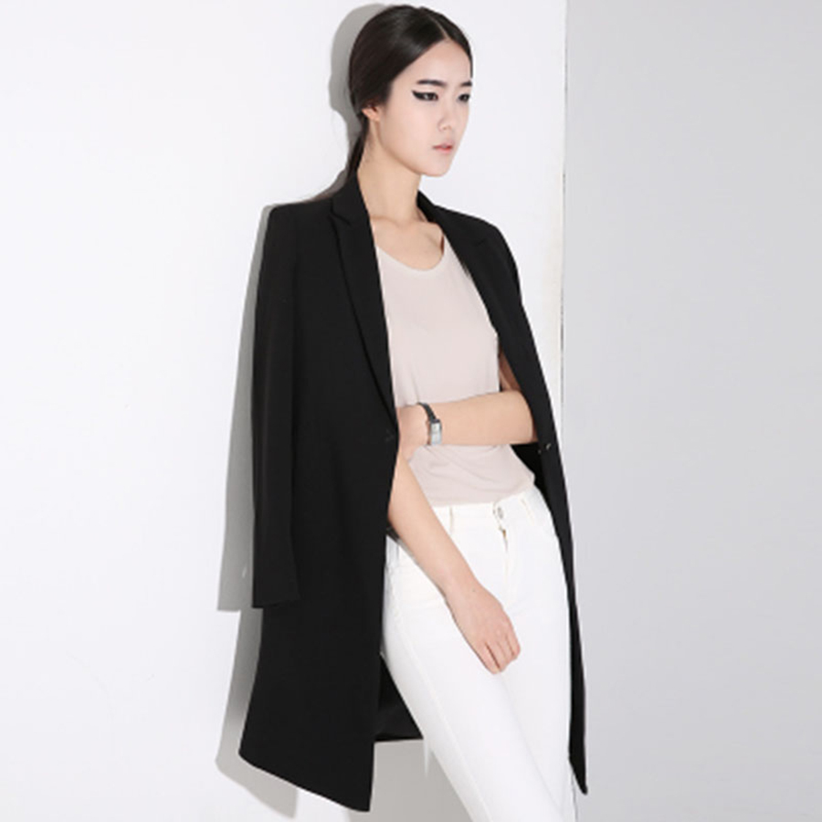 Plus Size Blazer Women Coats And Jackets Ladies Blazers Ladies Chaqueta Mujer6 Long Blazer Longo Feminino Office Suits 60N0447