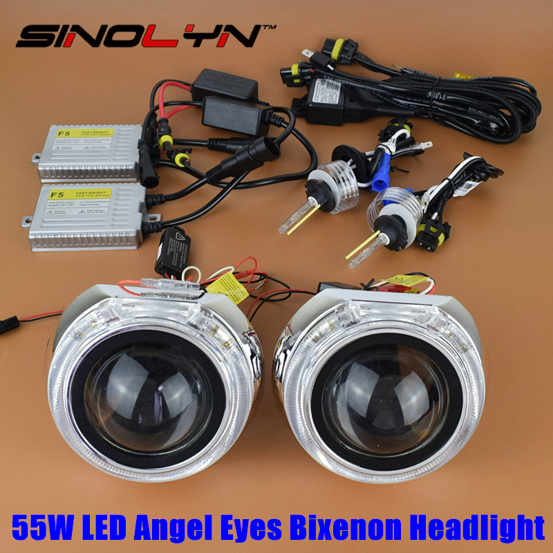 SINOLYN Car Styling 55W 3.0 inches LED Angel Eyes Halo DRL HID Bixenon Headlight Lens Projector Retrofit Tuning Kit H4 Hi/Low