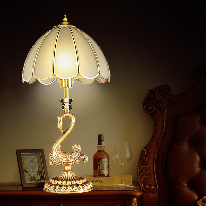 The full copper table lamp luxury retro bedside lamp lamp ...