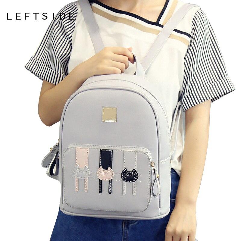 LEFTSIDE 2017 school back packs Cartoon Cute Cat Ladies Backpacks Fashion Women Backpack cute Girls Bags