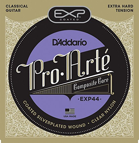 D'Addario EXP44 Coated Classical Guitar Strings, Extra Hard Tension classical guitar strings set cgn10 classic nylon silver plated normal tension 028 045 classical guitar strings 6strings set