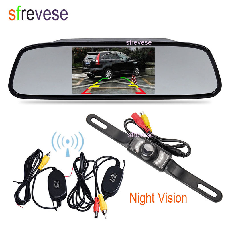 4.3 LCD Mirror Monitor + Wireless 7 LED IR Night Vision Reversing Camera Car Rear View Kit Parking System