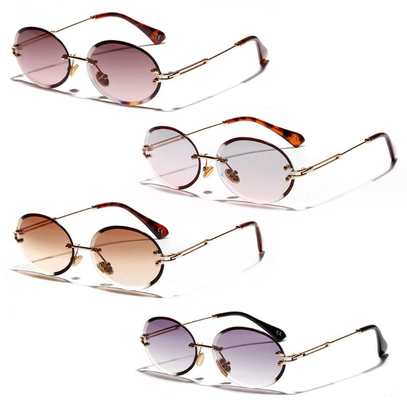 Nieuwe Ontwerp Mode Randloze Zonnebril Trend Hot Pop Unisex Bescherming Brillen Metal Benen Ovale Vorm Zonnebril