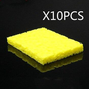 Инструмент для очистки, 10 шт., высокотемпературная, долговечная, плотная, электрическая сварка, паяльник, наконечник, желтая губка для очистки
