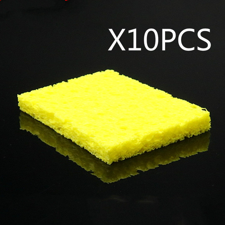 Clean Tool 10pc High Temperature Enduring Condense Electric Solder Welding Soldering Iron TIp Cleaning Sponge Yellow
