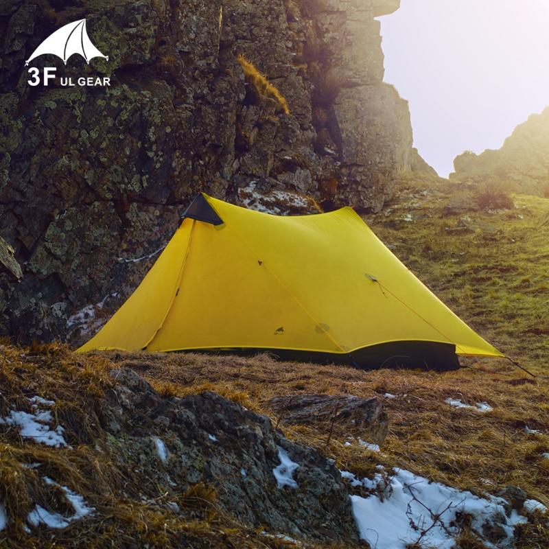 3F UL Gear Lanshan2 15D 4 saisons lumière 2-tour-forme 2 personnes revêtement de silicium tente de Camping pas de poteaux pas de feuille de sol
