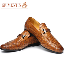 Fashion braided mens formal shoes genuine leather comfortable brown black