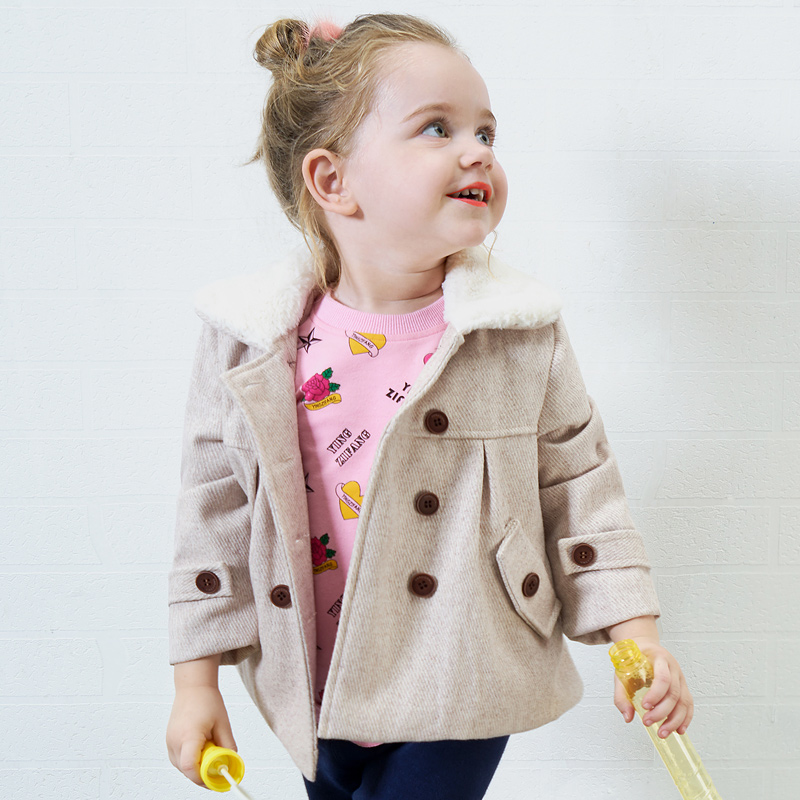Toddler 2017 Hot Sale Rushed Cashmere Baby Little Girls Autumn Winter European And American Style Woolen Solid Colour Suit Coat