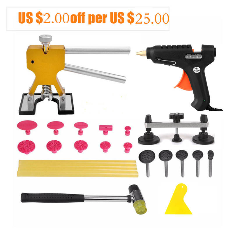 PDR Tools Kit Car Dent Removal Paintless Dent Repair Tools Pulling Bridge Dent Lifter Glue Tabs Suction Cup Hand Tools Set pdr rods kit with slider hammer dent lifter bridge puller set led line board glue stricks pro pulling tabs kit for pop a dent