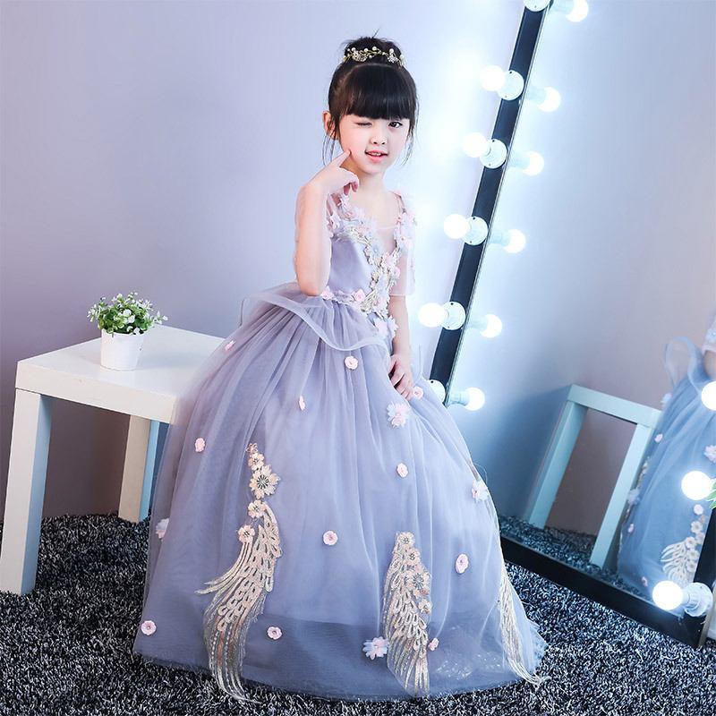 Kids Girl Appliques Gauze Princess Dress Teenage Girls Backless Pearl Dress Children Mesh Wedding Birthday Party Vestidos Q123