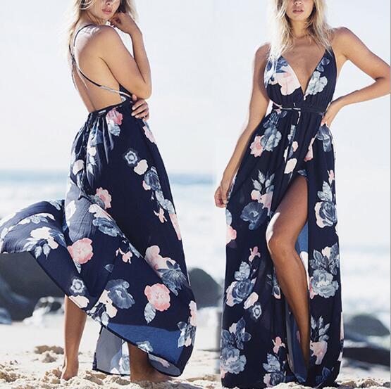 Sexy dos nu femmes Maxi robe col en v cordon été Floral imprimé bohème plage longues robes Split Party 2018 Vestido Y032