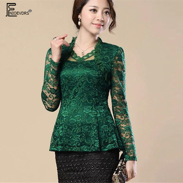 cf2b517e5135 2 Style Lace Blouses Shirts Women Tops Fashion Slim Cute V Neck Crochet Lace  Top Red