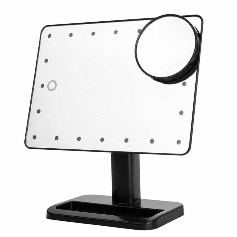 20 LED Сенсорный экран Макияж зеркало Портативный 10X Лупа освещенное зеркало косметическое Регулируемый косметическое столешницы 180 Вращающи... ...