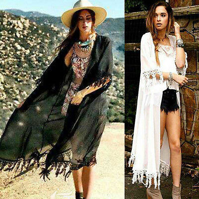 Sexy Women Kimono Cardigan Chiffon Tassel Long Beach Cover Up Tops Vests  Black Vest