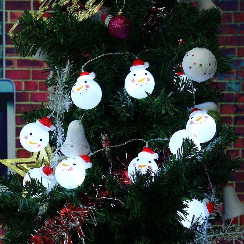 10/20 LED Snowman String Fairy Light Bulb Battery Xmas Tree Lamp Party Wedding Decor christmas tree toppers