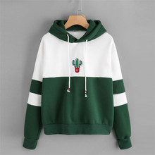 New Sweatshirts Trend Fashion Casual Top Women Hoodies Printing Cactus Color Matching Long-sleeved Hooded