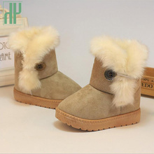 Winter kids shoes Thick Warm Shoes toddler Boys Girls fur boots Suede Buckle Kids Ankle boots Flats Winter child snow boots(China)
