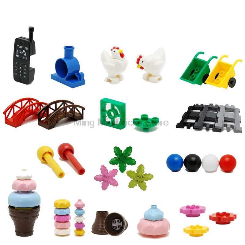Legoing Duplo Bola de pista deslizante de ladrillo cumpleaños vela helado dulce tubo partes empalme bloques de construcción juguete para niños Legoings