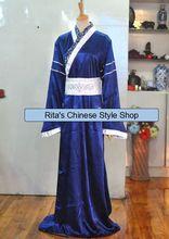 Dark Blue Silver White Hidden Dragon Pattern Narrow Sleeve Men's Costume Hanfu Stage Clothing Inner Costume Can Match Over Robe