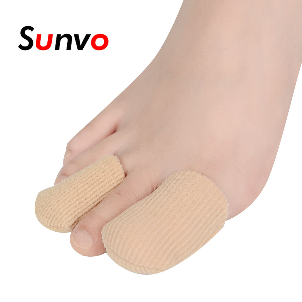 Sunvo 3Pcs Fabric Gel Tube Finger Toes Protector For Blister Corn Hallux Valgu And Bunion Calluse Prevent Toe Overlap Insert Pad