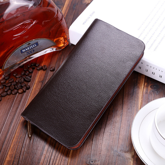 SWALLOW Business Long Men Wallets Leather With Phone Pocket Fashion Male Purses Zipper Card Holder Men Clutches Cartera Hombre