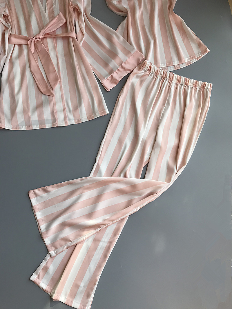 Lisacmvpnel 3 Pcs Striped Sexy Women Pajama Sets Nightdress+Robe+Pant Female Pajamas 65