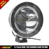 GDCREESTAR 6.7 Inch 50W Cannon LED Driving Lights 12V 24V Black Narrow beam led spotlight 4x4 LED Off road Lights W/ cover x 1pc