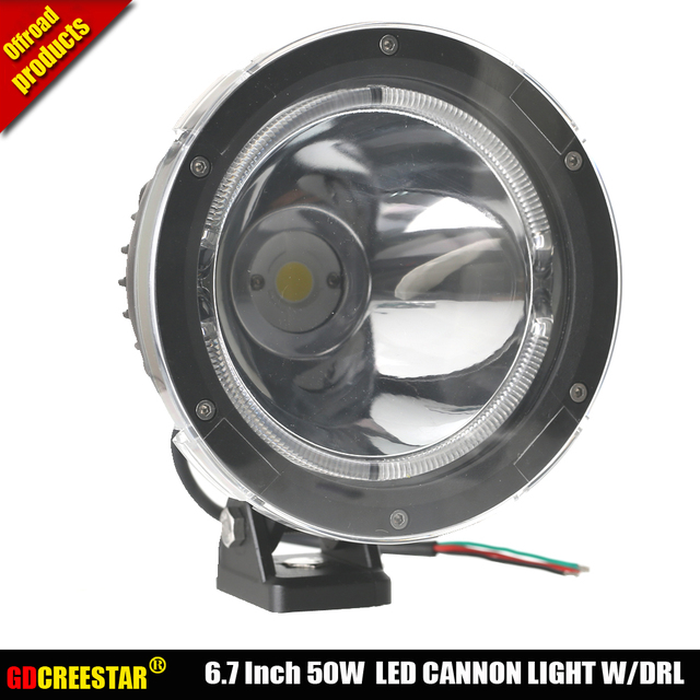 GDCREESTAR 6.7 Inch 50W Cannon LED Driving Lights 12V 24V Black Narrow beam led spotlight 4x4 LED Off road Lights W/ cover x 1pc