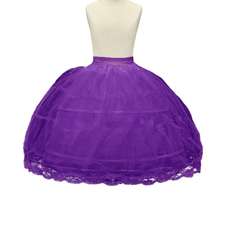 2 Hoop Purple Girls Petticoats Children Slip Flower Girl Petticoat ball gown lace appliques flower girls
