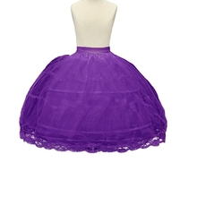 2 Hoop Purple Girls' Petticoats Children Slip Flower Girl Petticoat ball gown lace appliques flower girls petticoat underskirt