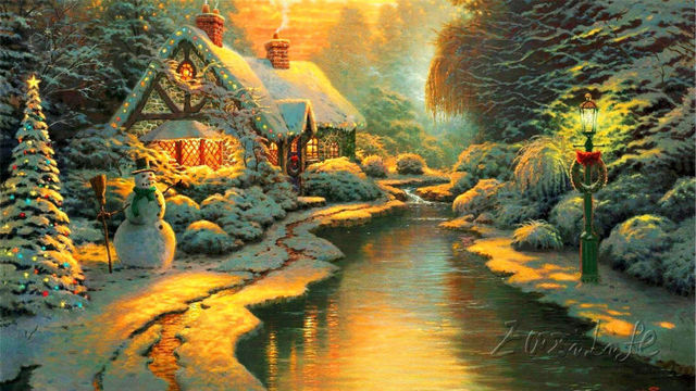 Thomas kinkade oil paintings lights winter thomas kinkade - Home interiors thomas kinkade prints ...