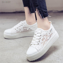 NEW platform shoes women casual lace canvas breathable large size net thick bottom increased