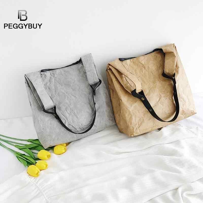 クラフト紙大容量女性クロスボディシンプルなスタイルの女性のショルダーバッグ女性ショッピングトートバッグ純粋な色のトップハンドルバッグ
