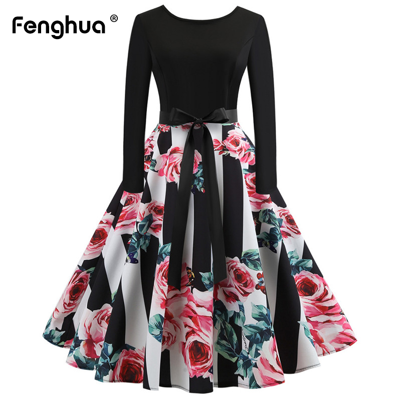 Fenghua Spring Summer Dress Women 2019 Casual Plus Size Print Dress Elegant  Vintage 50s 60s Ball Gown Party Dress Female 2XL