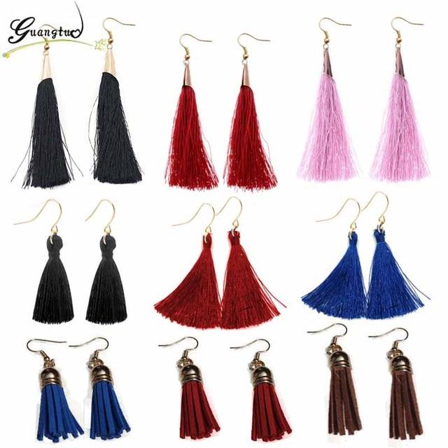 Fashion Ethnic Style Multicolour Tassel Drop Earrings For Women Jewelry Statemen
