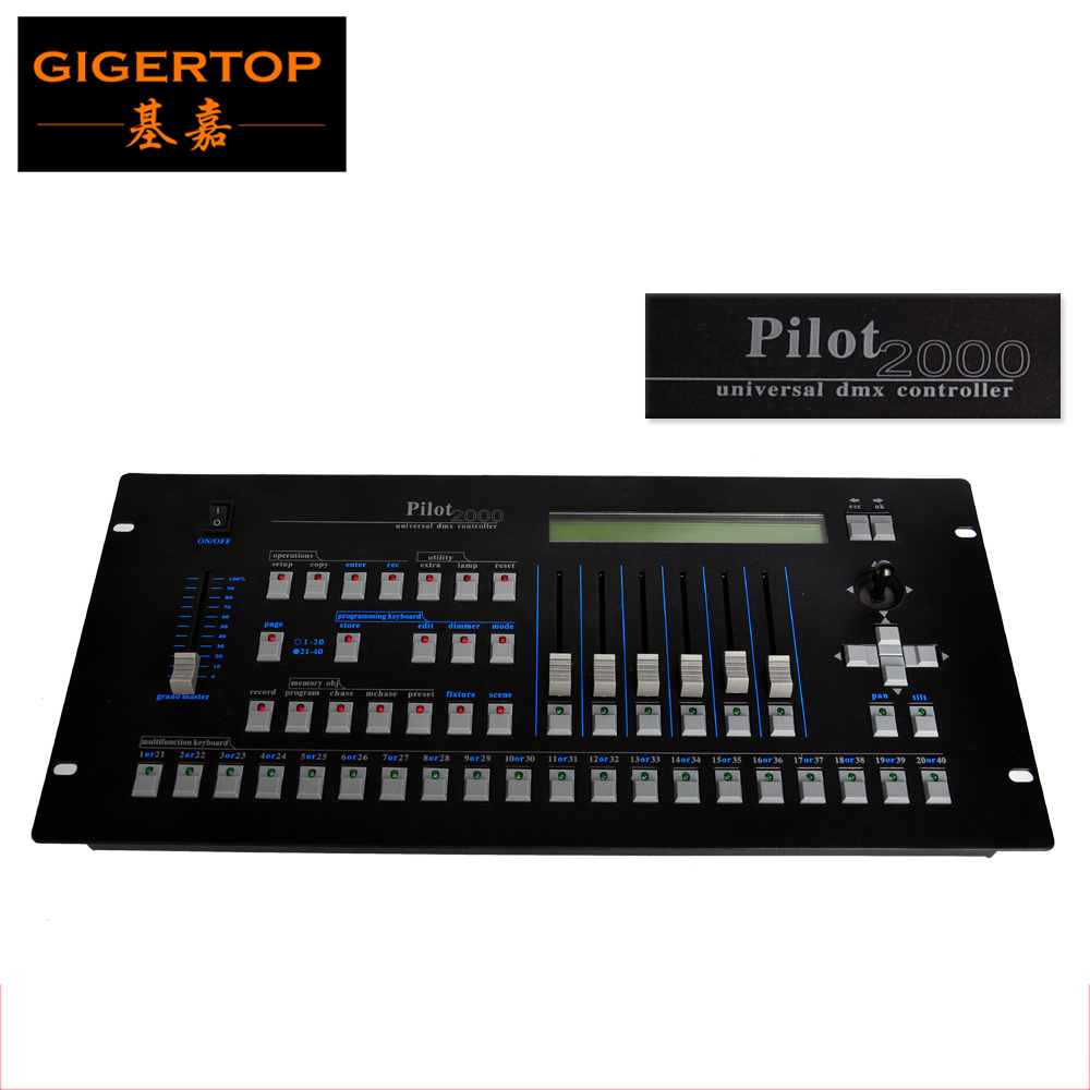 Free Shipping Pilot 2000 Controller,Hot Selling DMX Lighting Controller 90V-240V Mixer USB Input , Light Console dj Equipment dmx512 digital display 24ch dmx address controller dc5v 24v each ch max 3a 8 groups rgb controller